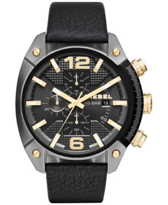 Diesel Men's Chronograph Overflow Black Leather Strap Watch 49x54mm DZ4375