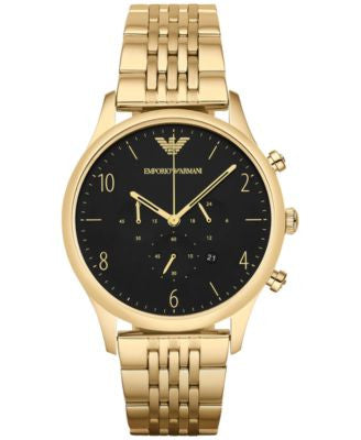 Emporio Armani Men's Chronograph Beta Gold-Tone Stainless Steel Bracelet Watch 41mm AR1893
