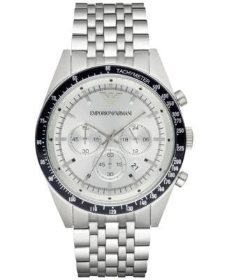 Emporio Armani Men's Chronograph Tazio Stainless Steel Bracelet Watch 46mm AR6073
