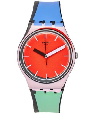 Swatch Unisex Swiss Sport Mixer Multi-Color Silicone Strap Watch 34mm GB286