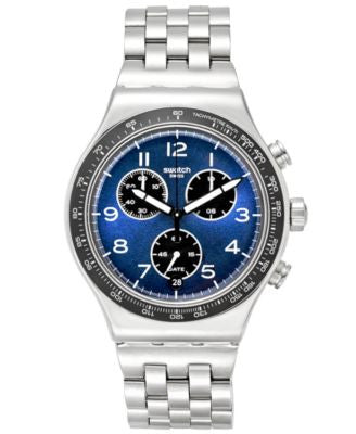 Swatch Men's Boxengasse Swiss Chronograph Tech Mode Stainless Steel Bracelet Watch 42mm YVS423G