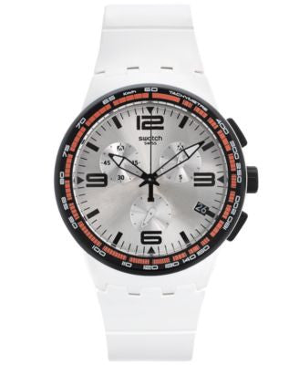 Swatch Unisex Swiss Chronograph Tech Mode White Rubber Strap Watch 42mm SUSW405