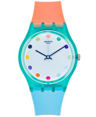 Swatch Women's Swiss Sport Mixer Orange & Blue Silicone Strap Watch 34mm GG219