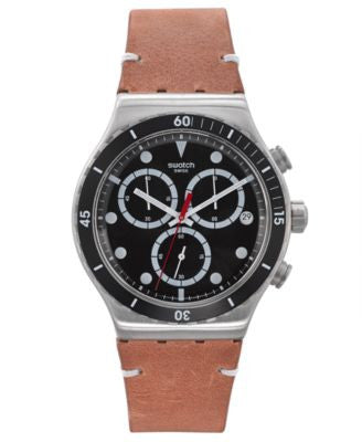 Swatch Men's Swiss Chronograph Tech Mode Brown Leather Strap Watch 41mm YVS424