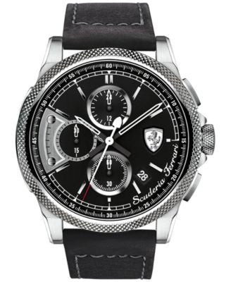 Scuderia Ferrari Men's Chronograph Formula Italia S Black Leather Strap Watch 46mm 830275