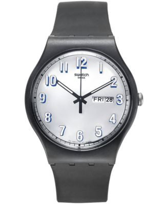 Swatch Men's Swiss Secret Service Black Silicone Strap Watch 41mm SUOB718