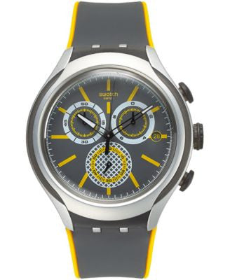 Swatch Men's Swiss Chronograph Bee-Droid Gray & Yellow Silicone Strap Watch 42mm YYS4008