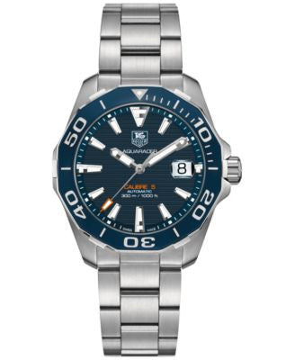 TAG Heuer Men's Swiss Automatic Aquaracer Calibre 5 Stainless Steel Bracelet Watch 41mm WAY211C.BA09