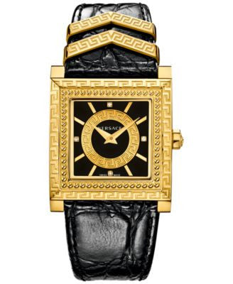 Versace Women's Swiss DV25 Diamond Accent Black Leather Strap Watch 30x30mm VQF02 0015