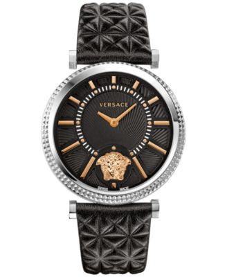 Versace Women's Swiss V-Helix Black Quilted Calf Leather Strap Watch 38mm VQG020015