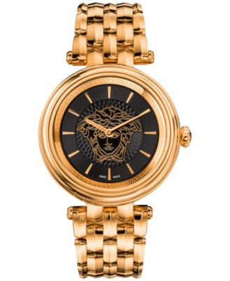 Versace Women's Swiss Khai Rose Gold-Tone Stainless Steel Bracelet Watch 38mm VQE050015