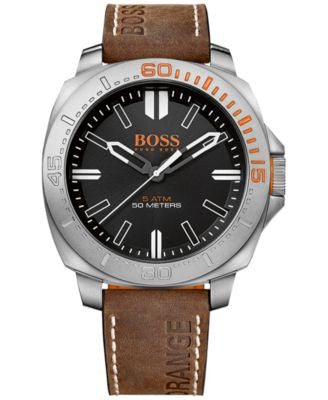 BOSS Orange Men's Sao Paulo Brown Leather Strap Watch 46mm 1513294