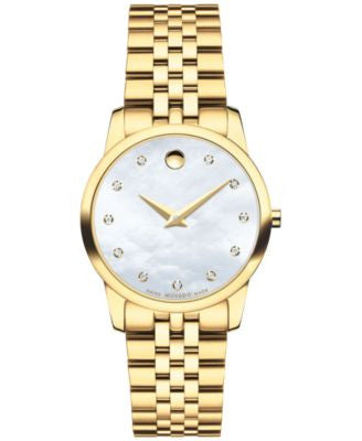Movado Women's Swiss Museum Classic Diamond Accent Gold-Tone PVD Stainless Steel Bracelet Watch 28mm