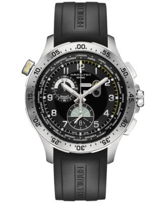 Hamilton Men's Swiss Chronograph Khaki Aviation Worldtimer Black Rubber Strap Watch 45mm H76714335