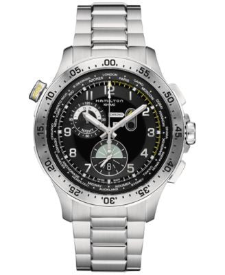 Hamilton Men's Swiss Chronograph Khaki Aviation Worldtimer Stainless Steel Bracelet Watch 45mm H7671