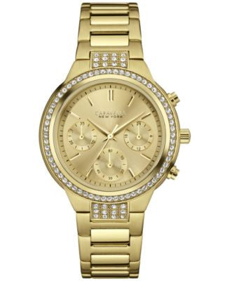 Caravelle New York by Bulova Women's Chronograph Gold-Tone Stainless Steel Bracelet Watch 36mm 44L17