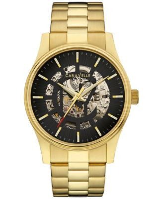 Caravelle New York by Bulova Men's Automatic Gold-Tone Stainless Steel Bracelet Watch 42mm 44A107
