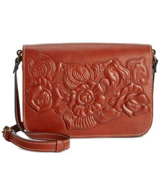 Patricia Nash Rose Tooled Navano Flap Crossbody