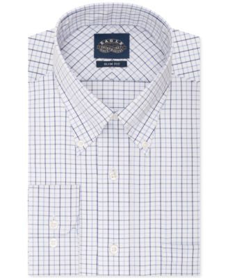 Eagle Slim-Fit Non-Iron White and Blue Multi Check Dress Shirt