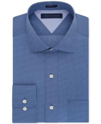 Tommy Hilfiger Classic-Fit Easy Care Slate Blue Geo Print Dress Shirt