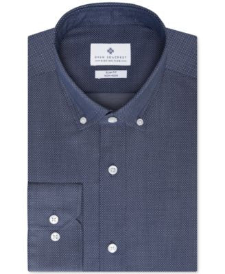 Ryan Seacrest Distinction Slim-Fit Blue Frost Dot Dress Shirt, Only at Vogily