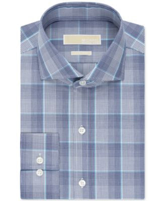 MICHAEL Michael Kors Classic-Fit Non-Iron Ink Blue Check Dress Shirt