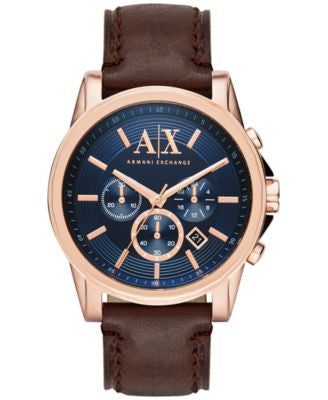 A|X Armani Exchange Men's Chronograph Dark Brown Leather Strap Watch 45mm AX2508