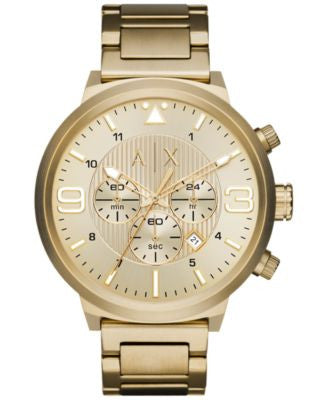A|X Armani Exchange Men's Chronograph Gold-Tone Stainless Steel Bracelet Watch 49mm AX1368