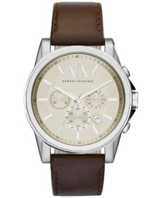A|X Armani Exchange Men's Dark Brown Leather Strap Watch 45mm AX2506