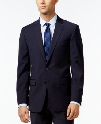 Calvin Klein X-Fit Navy Solid Extra Slim-Fit Jacket