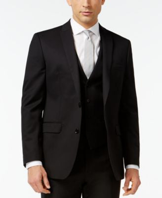 Bar III Black Solid Slim-Fit Jacket