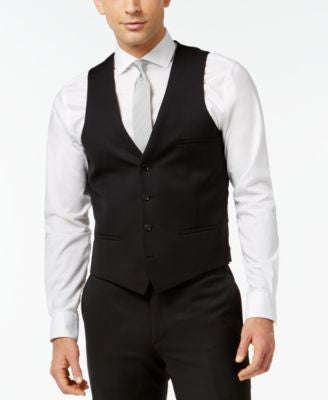 Bar III Black Solid Slim-Fit Vest