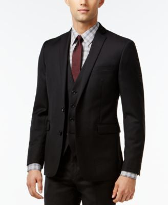 Bar III Black Solid Extra Slim-Fit Jacket