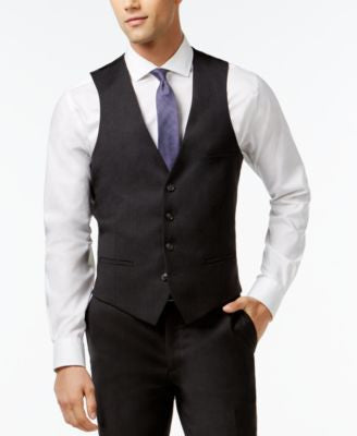 Bar III Charcoal Solid Extra Slim-Fit Vest