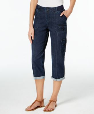 Lee Platinum Cropped Cargo Twilight Wash Jeans