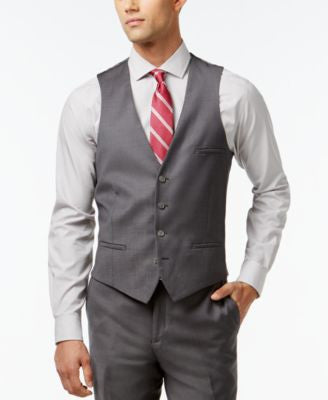 Bar III Mid-Grey Slim-Fit Pindot Vest