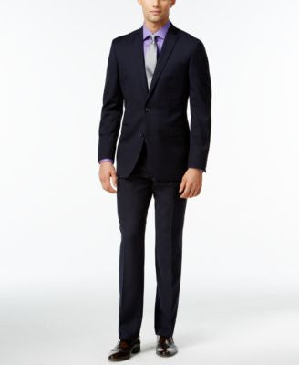Bar III Navy Tonal Check Slim-Fit Suit Separates