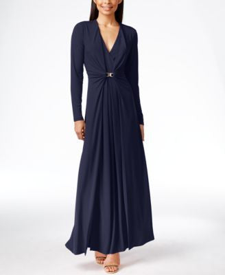 Calvin Klein Long-Sleeve Ruched Evening Gown