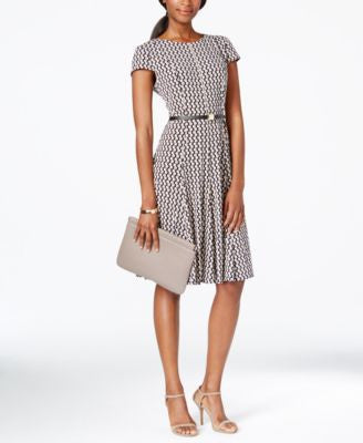 Jessica Howard Petite Printed Belted A-Line Dress