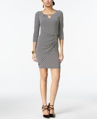 Thalia Sodi Printed Faux-Wrap Sheath Dress, Only at Vogily