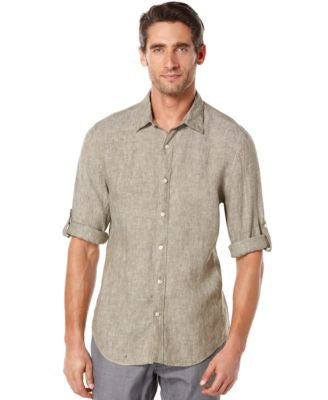 Perry Ellis Big and Tall Long Sleeve Solid Linen Shirt