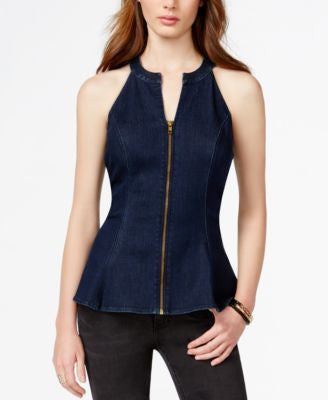 GUESS Zip-Front Denim Peplum Top