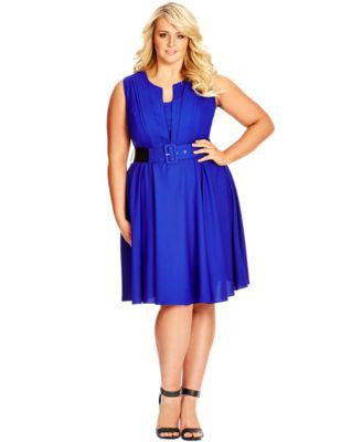 City Chic Plus Size Pleat-Front Belted Dress