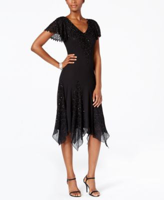 J Kara V-Neck Handkerchief Hem Sparkle Dress