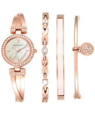 Anne Klein Women's Crystal Accent Rose Gold-Tone Stainless Steel Bangle Bracelet Watch & Bracelets S