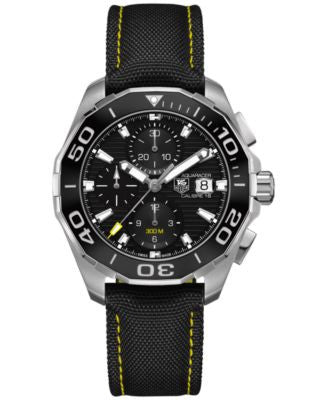 TAG Heuer Men's Automatic Chronograph Aquaracer Calibre 16 Black Nylon Strap Watch 43mm CAY211A.FC63