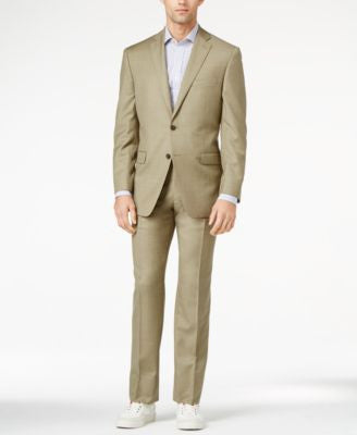 Calvin Klein Tan Sharkskin Slim-Fit Suit