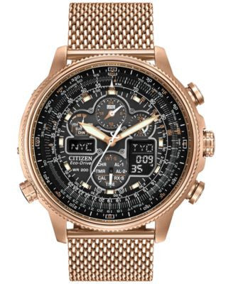 Citizen Men's Eco-Drive Navihawk AT Rose Gold-Tone Ion Plated Stainless Steel Bracelet Watch 48mm JY