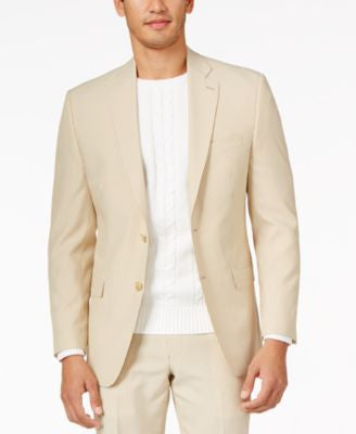 Lauren by Ralph Lauren Tan Seersucker Classic-Fit Jacket