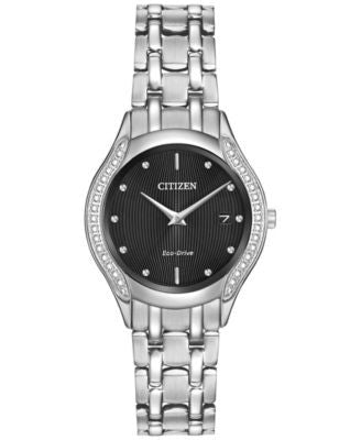 Citizen Women's Eco-Drive Diamond Accent Stainless Steel Bracelet Watch 27mm GA1060-57E